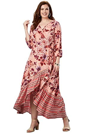 12be36a8d88 Roamans Women s Plus Size High-Low Wrap Dress at Amazon Women s ...