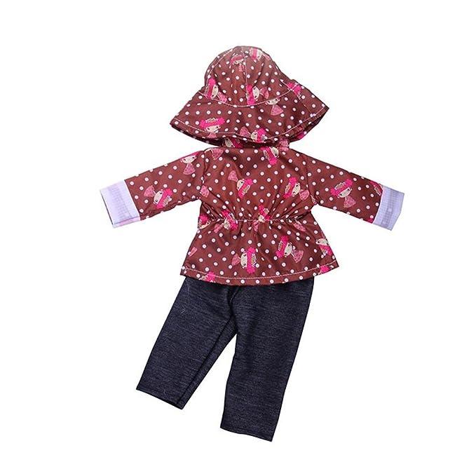 b9bd99e223b0 Dinglong 3Pcs  Set 18 inch American Girl Doll Clothing Set Fashion  Raincoat+Hat+Pants