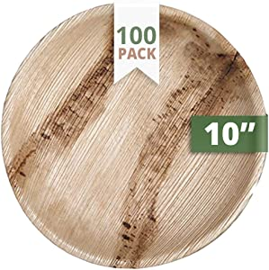CaterEco Round Palm Leaf Plates set (Pack of 100) | Dinner Plates| Ecofriendly Disposable Dinnerware | Heavy Duty Biodegradable Party Utensils for Wedding, Camping & More