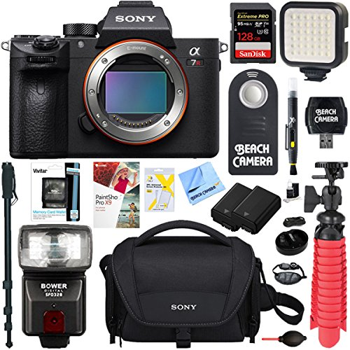 Sony a7R III 42.4MP Full-frame Mirrorless Interchangeable Lens CamSony a7R III 42.4MP Full-frame Mirrorless Interchangeable Lens Camera Body + Extra Battery 128GB Memory & Flash a7RIII Accessory Bundl