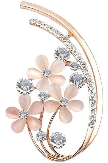 Delightful FENGJI Full Rhinestone Five Flower Opal Brooches For Women Vintage Clothing  Decoration Jewellery Crystal Brooch Pins