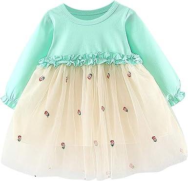 0-6 A/ños Navidad Vestido de Princesa Beb/é Ni/ña Disfraz de Fiesta Navidad para Recien Nacida Vestidos Oto/ño Invierno de Manga Larga para Chicas