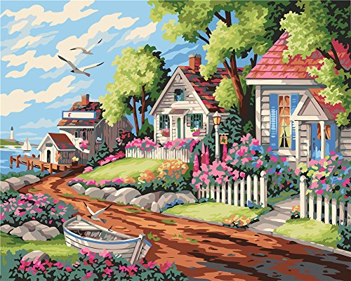 DIY Painting by Numbers, Komidea Adult Paint by Number Kits with Canvas Brush, Lakeside Village 16x20inch - Village Lakeside