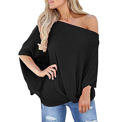 f69248f948bd7f GOWOM Womens Knot Front Off The Shoulder Tops Waffle Knit Batwing Sleeve Shirts  Blouse at Amazon Women's Clothing store: