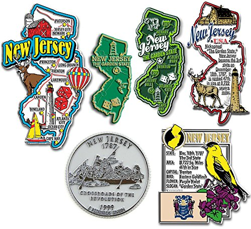 Six-Piece State Magnet Set - New Jersey (Magnets New Refrigerator Jersey)