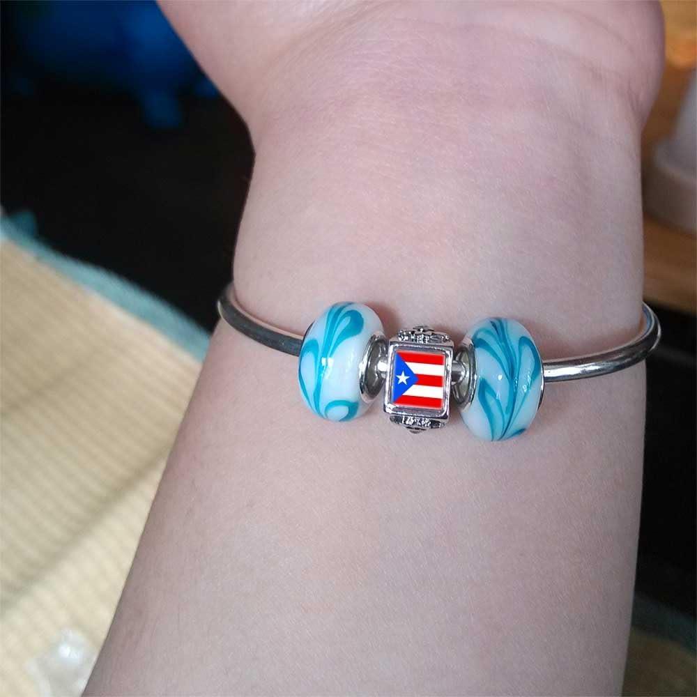 Silver Plated Puerto Rico Flag Photo Light Rose Crystal October Birthstone Flower Bead Charm Bracelets