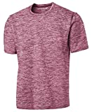 DRIEQUIP Men's Short Sleeve Moisture Wicking T-Shirt-ElectricMaroon-L