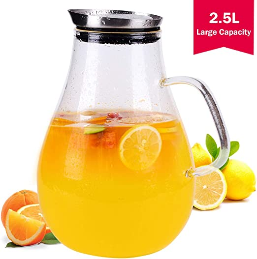 2 5 Liter Glass Juice Pitcher With Lid Half Of One Gallon Water Jug With Handle Large Water Carafe Jar For Boiling Liquid Hot Iced Tea Pitcher Milk Lemonade Include A Stretch Lid To Keep