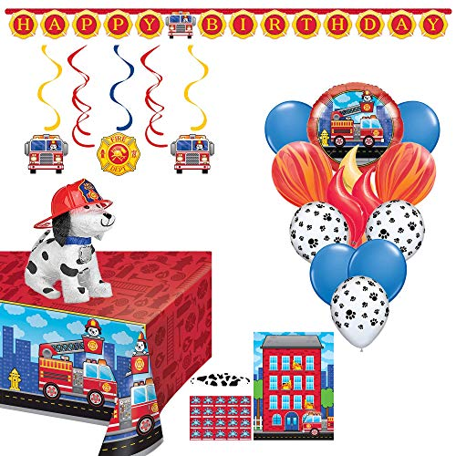 Birthday Party Set :: Ya Otta Puppy Firefighter Pinata bundled with Fireman Party Supplies and an eBook with Kids Birthday Party Games ()
