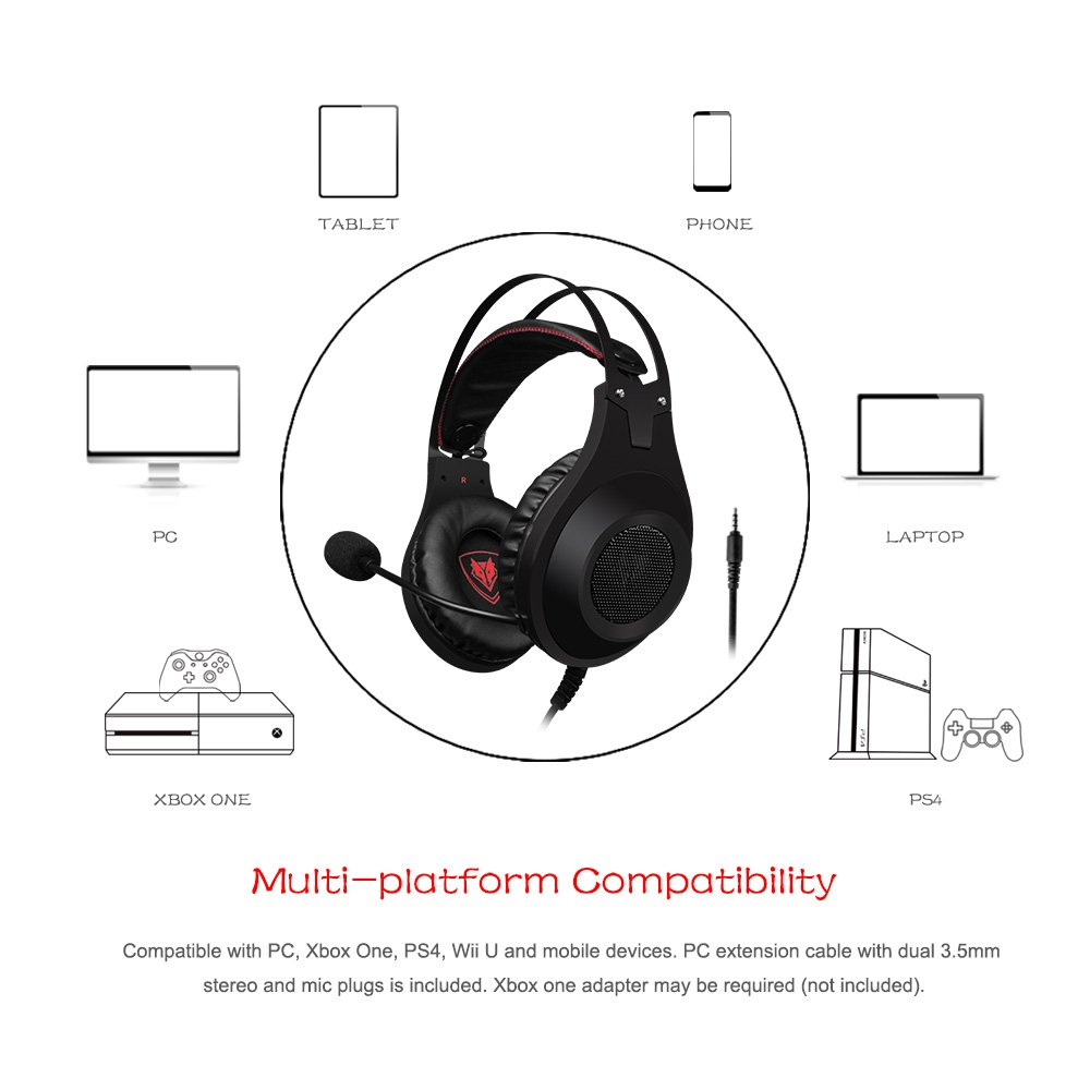 8b963bed5c3 ... Gaming Headset for Xbox One PS4 Playstation 4, Headphones Computer PC  Mic Stereo Fortnite Gamer Microphone for Skype Xbox one s Xbox 1 x Nintendo  Switch ...