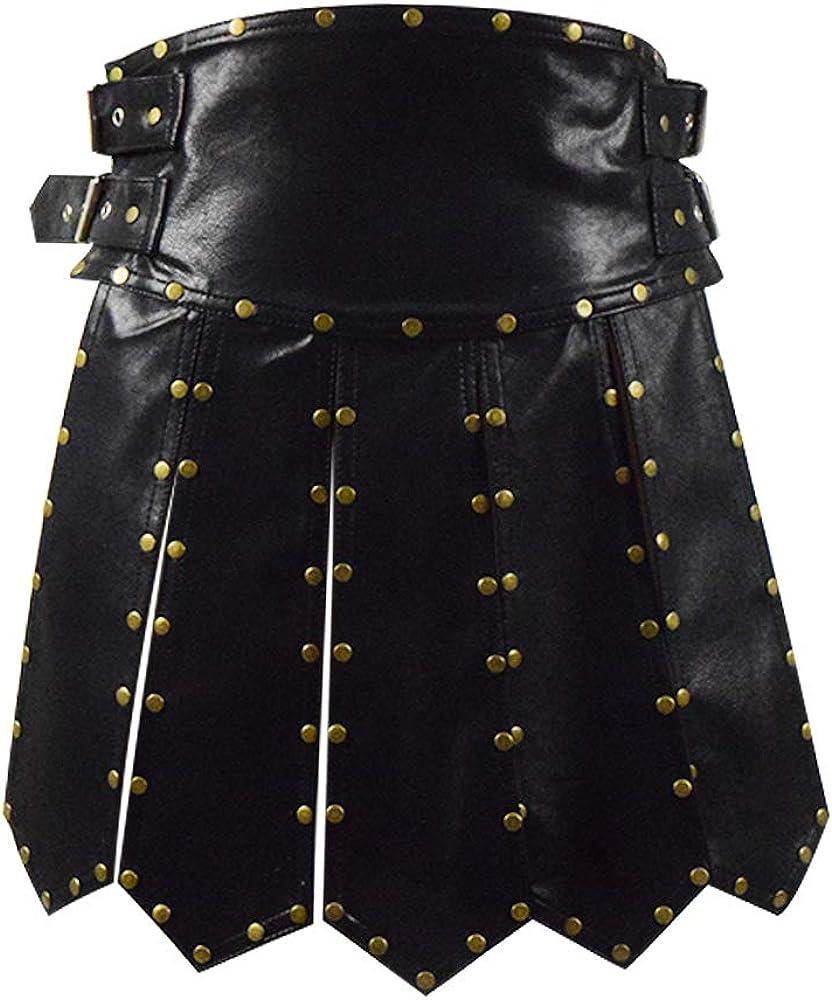 Zhangjianwangluokeji - Falda de piel de gladiador romano pesada, falda de cuero negra, delantal, cinturón, grifos, cosplay, armadura para hombres