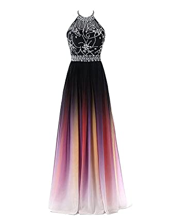 285c62647615 Zhu Li Ya Women's Halter Beaded Gradient Chiffon Prom Dresses Ombre Evening  Party Gown BlackColorful 2