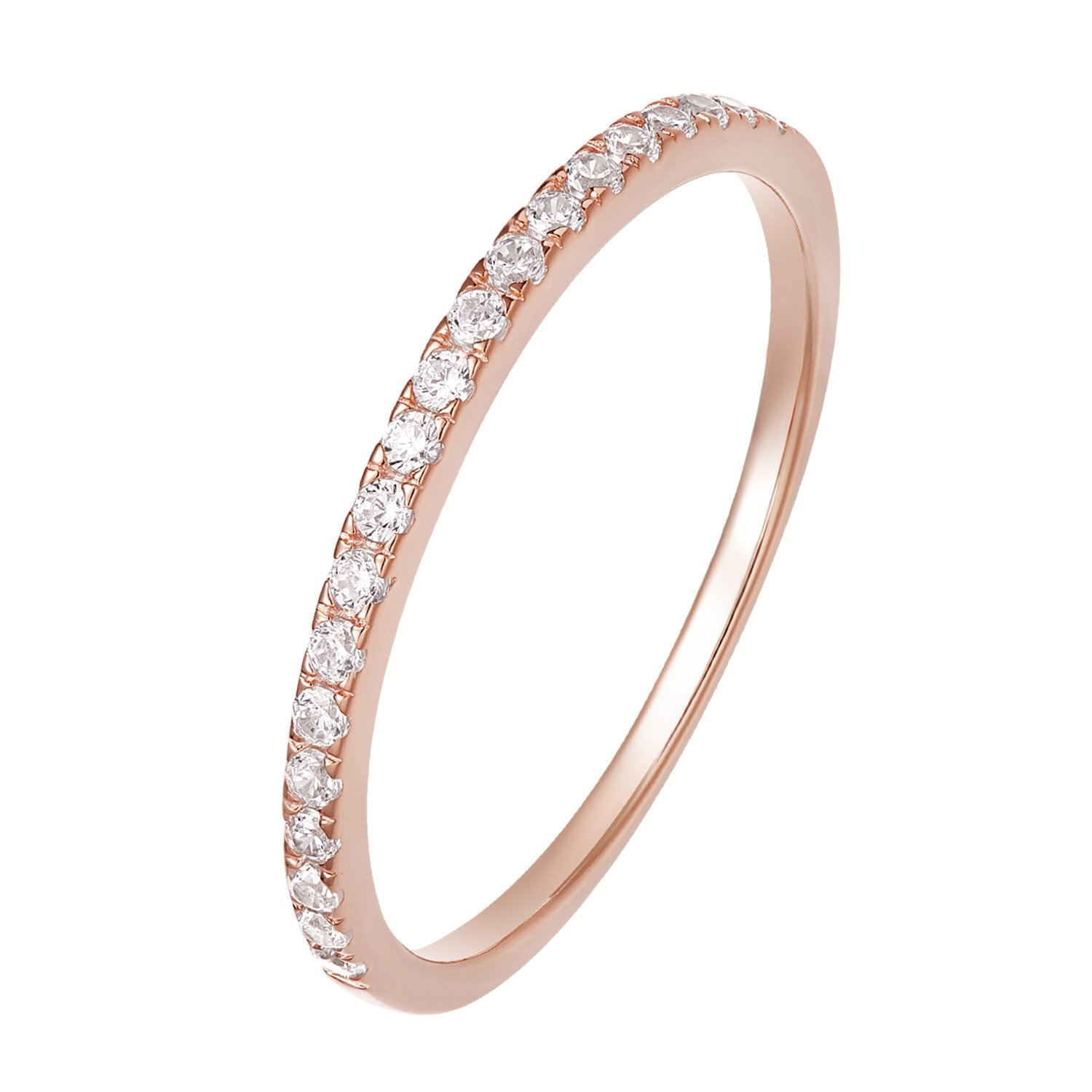 EAMTI 925 Sterling Silver Wedding Band Cubic Zirconia Half Eternity Stackable Engagement Ring (4: Rose Gold-Half Eternity, 7.5)