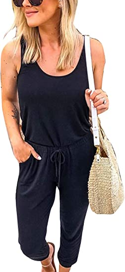 Naliha Women Sports Jumpsuits Drawstring Sleeveless Summer Casual Ankle Rompers Amazon Ca Clothing Accessories