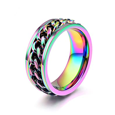 8mm rainbow chain design stainless steel spinner rings for mens womens pride wedding bands size 7 - Rainbow Wedding Rings