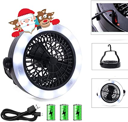 Outdoor Multifunction Portable USB Camping Hiking LED Fan Light Tent Lamp W//Hook