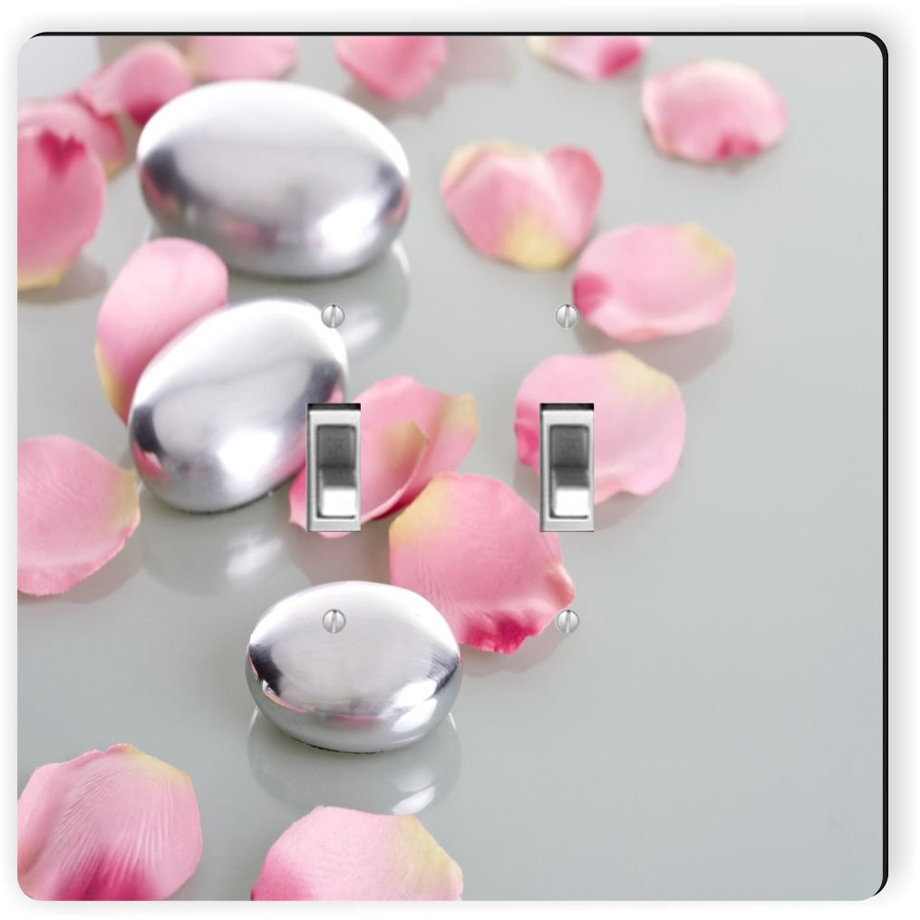 Rikki Knight 2045 Double Toggle Spa Stones with Rose Petals Design Light Switch Plate