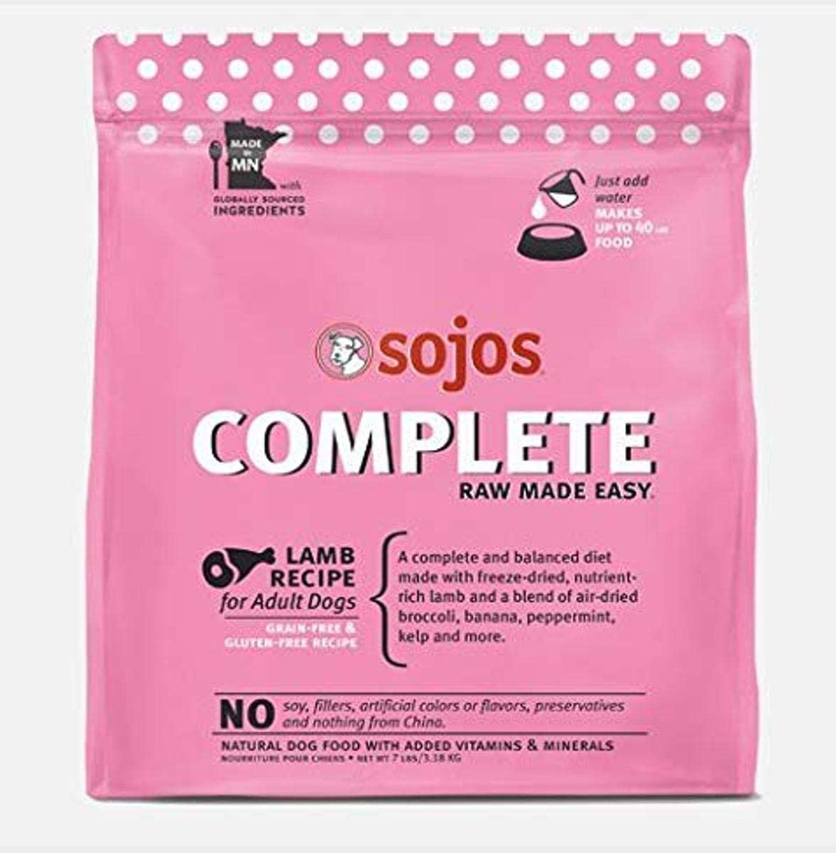 Sojos Complete Raw Made Easy Freeze-Dried, 7-Pound Bag Dog Food Lamb Recipe (1)