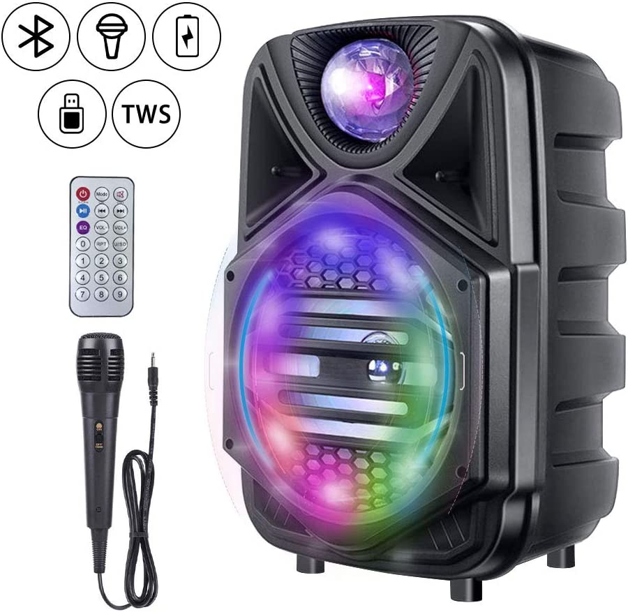 Rolling Wheels-Mic Ideal for Party Meeting Outdoor//Indoor Activities Portable Bluetooth Speaker with 1 Wireless Microphone Bluetooth Karaoke Machine 12 Subwoofer PA Speaker System