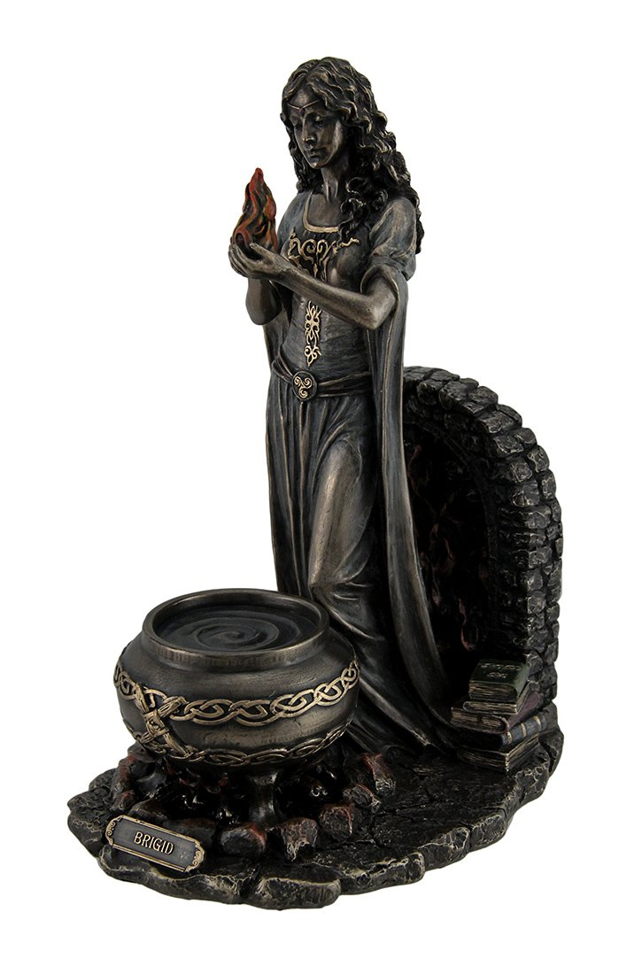 Resin Statues Brigid Goddess of Hearth Home Standing Holding Sacred Flame Statue 7 X 9.5 X 5.5 Inches Bronze