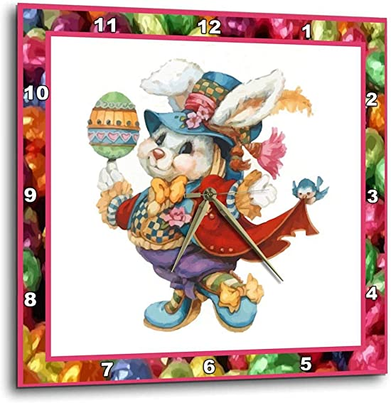 3dRose dpp_14857_1 Easter Bunny-Wall Clock, 10 by 10-Inch