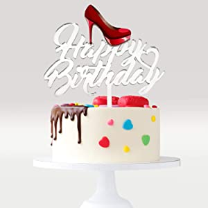 Red High Heels Happy Birthday Cake Topper - Bridal Shower Theme Party Cake Décor - Woman Girls Birthday Party Supplies - Chic Ladies Stilettos Shoes Mirrored Acrylic Decoration
