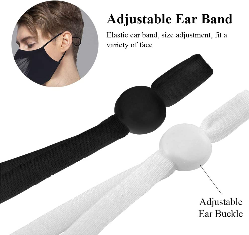 White /& Black 100 Pieces Elastic Band with Adjustable Buckle Stretchy Earloop String Cord Thread Lanyard Earmuff Rope for Sewing DIY Craft Clothing
