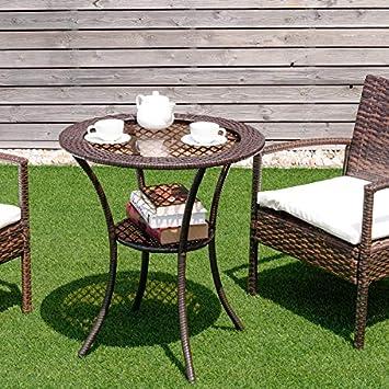 Tangkula 25 Patio Wicker Coffee Table Outdoor Backyard Lawn Balcony Pool Round Tempered Glass Top Wicker Rattan Steel Frame Table Furniture W Lower Shelf