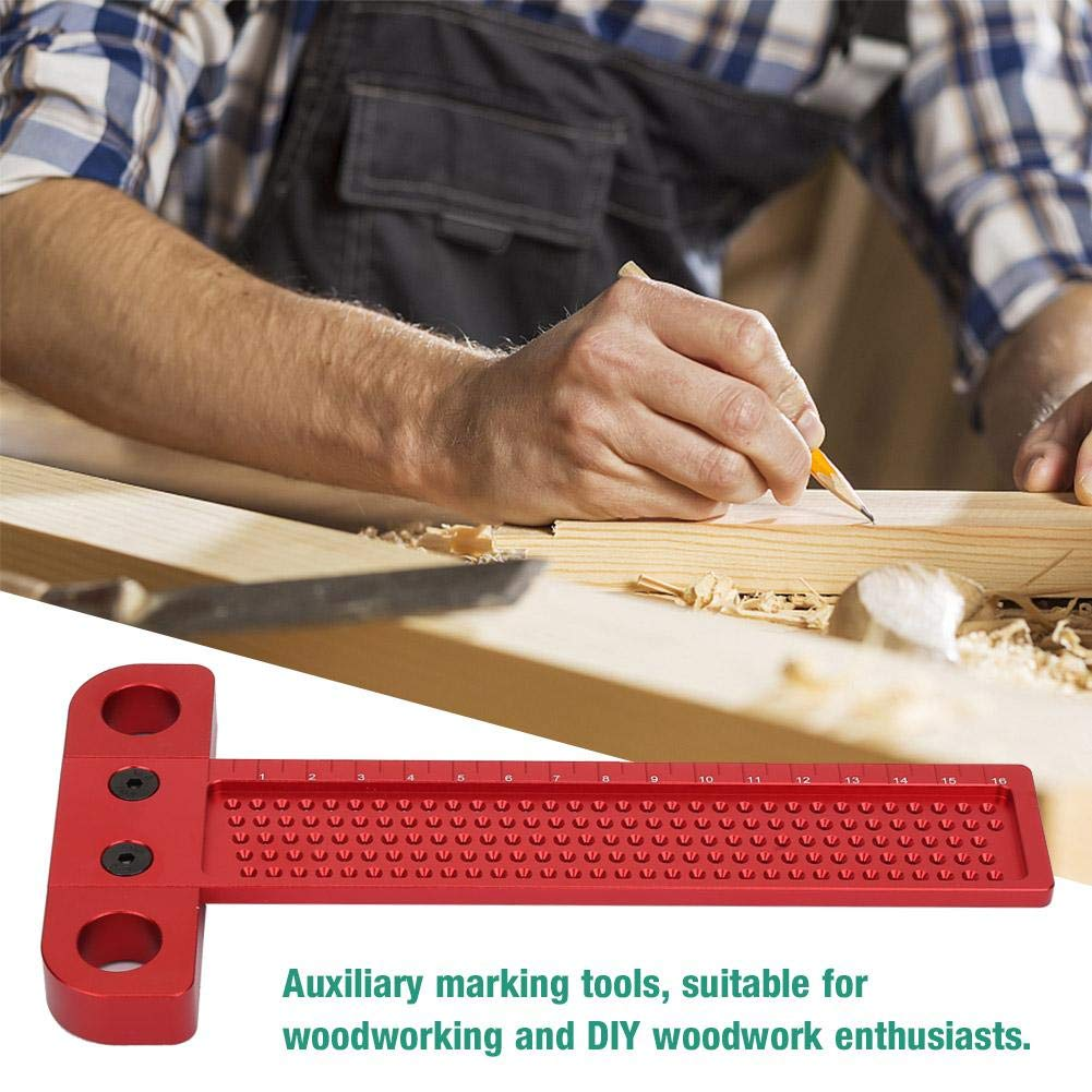 Precision Woodworking T-shaped Ruler with Marked Holes Aluminum Alloy Measuring Tools for Carpenter T-160