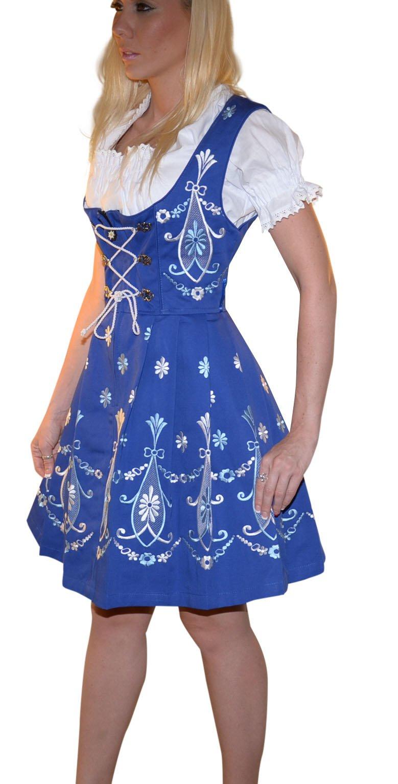 Dirndl Trachten Haus 3-piece Short German Wear Party Oktoberfest Waitress Dress 12 42 Blue by Dirndl Trachten Haus (Image #3)