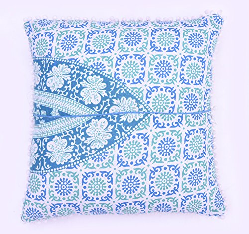 Indian 100% Cotton Cushion Cover Meditation Floor Cushion Cover Home Decor Ethnic Pillow Sham Large Pom Pom Lace Square Couch Pillow Cover Outdoor Pillow Cases Euro Sham Pillow Cover Set ()