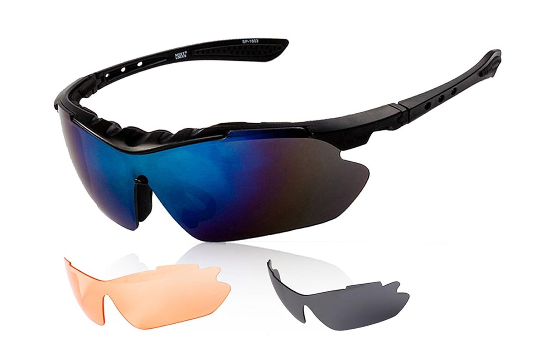 Gafas de Sol Deportivas Polarizadas, Svance TR90 UV 400 Protección Unisex Gafas Ciclismo con 3 Lentes Intercambiables para Ciclismo Esquí Conducción Correr ...