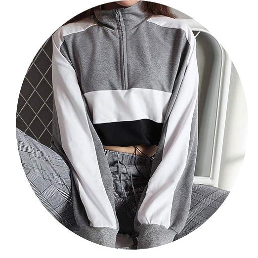 Friedman Long Sleeve Pullover Sweatshirt Patchwork Crop Top Hoody Sudaderas moletons Femininos at Amazon Womens Clothing store: