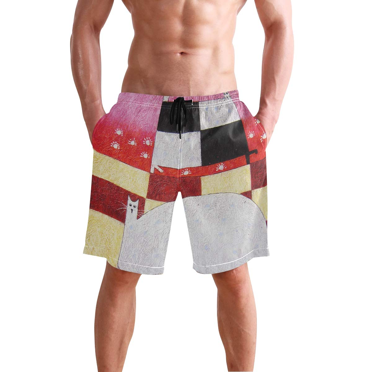 DEYYA Mens Cat Art Painting Summer Beach Shorts Pants Swim Trunks Board Short for Men