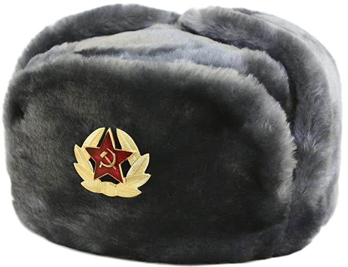 Russian ushanka winter hat Gray-62 with Soviet Soldier insignia at ... bd2ff17001b