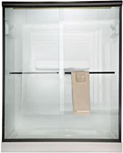 American Standard AM00350422.224 Euro Frameless By-Pass Tub Doors with Rain Glass, Oil Rubbed Bronze