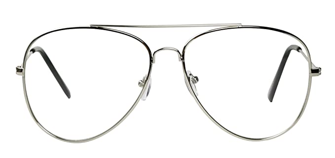 432dc7c478 Image Unavailable. Image not available for. Colour  Basik Eyewear - Premium  Metal Wire Pilot Teardrop Aviator Clear Lens Eye Glasses (Silver Frame