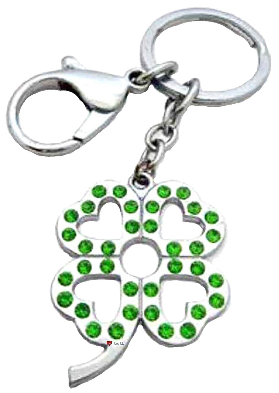 最安値挑戦! Lucky Irish Four Four Leaf Clover Key ring Rhinestone With ring Rhinestone Centre Metal B00831UJZ4, ナミオカマチ:5ccd5eba --- yelica.com