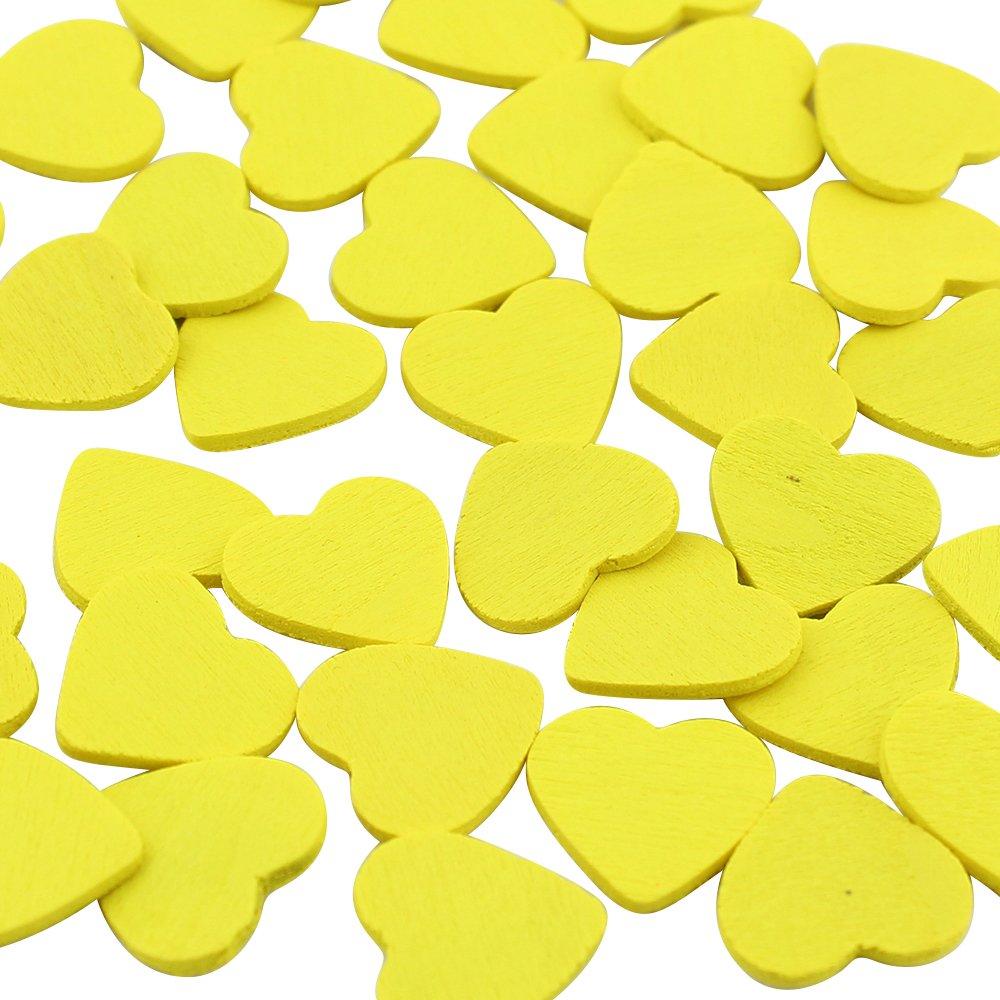 DEKOWEAR Corazón autoadhesiva con punto de pegamento 50 piezas para la Decoración de Madera de 18 mm, como una Muestra de Amor en Forma de Corazón - Amuleto de buena suerte Hecha a Mano (Color) 221003