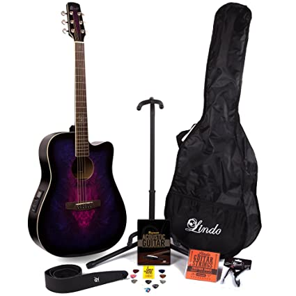 Lindo Guitars – Guitarra electroacústica (preamplificador en violeta W/& sintonizador digital y Full