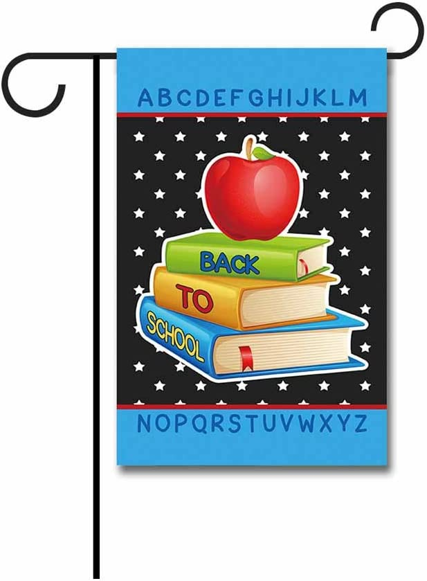 """KafePross Books and Apple Decorative Back to School Garden Flag Letter Star Banners 12.5""""X18"""" Print Both Sides"""