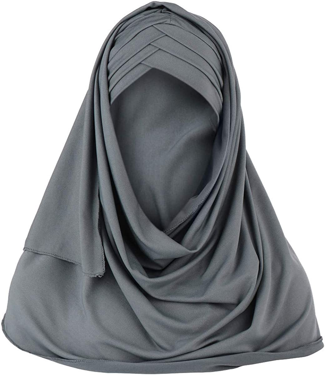 Thenxin Muslim Hijab For Women Solid Color Soft Turban Full Cover Headscarf