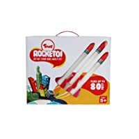 Toiing Rocketoi Led Rocket Toy with 3 Rocket Launcher and Colour Changing Lights, White