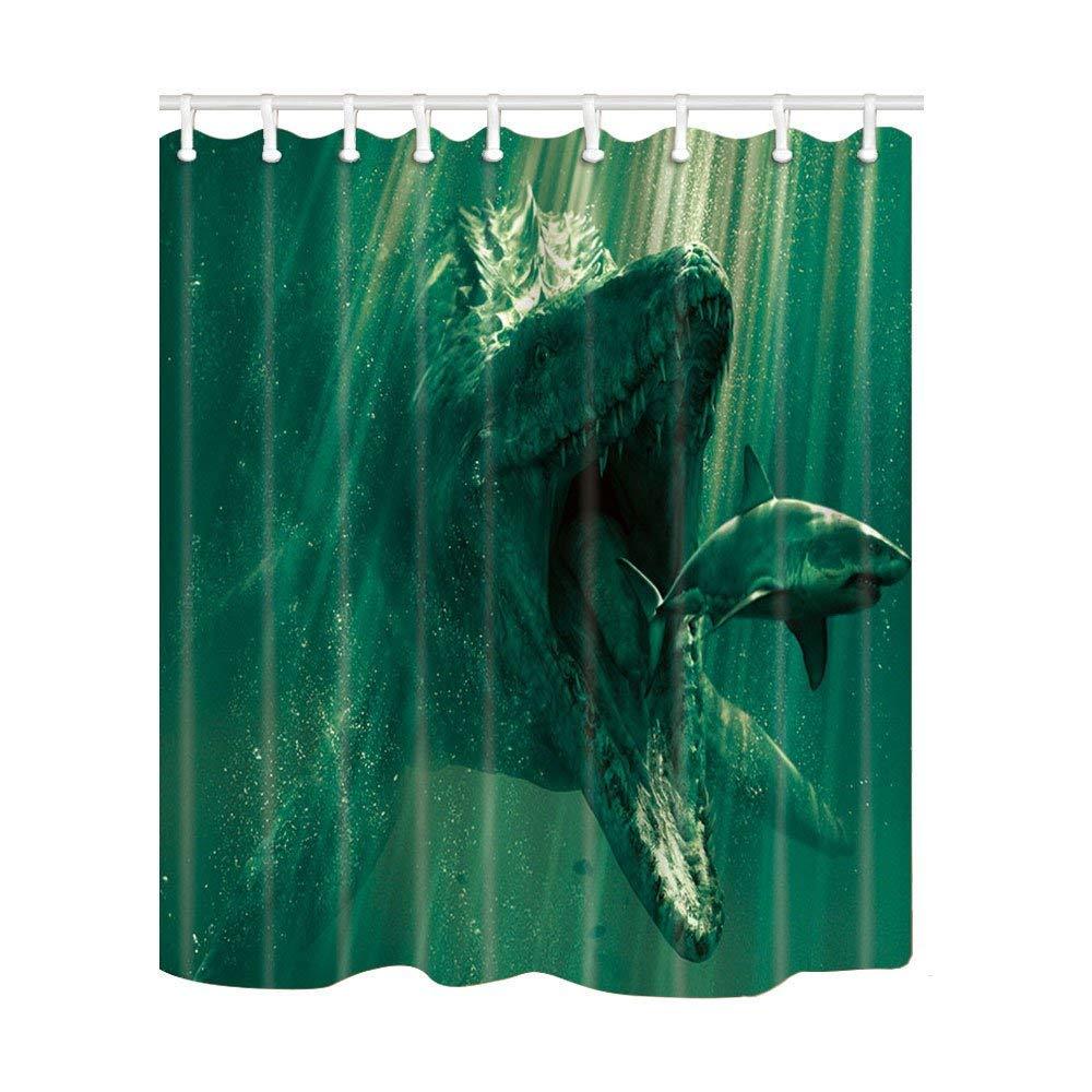 Boyce22Par Animal Decor Shower Curtain,Marine Paleontology Mosasaurus and Sharks,Polyester Fabric Bath Curtains with Hooks 72x72 Inch