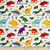 Lost World Dinosaurs Multi/White Fabric By The Yard