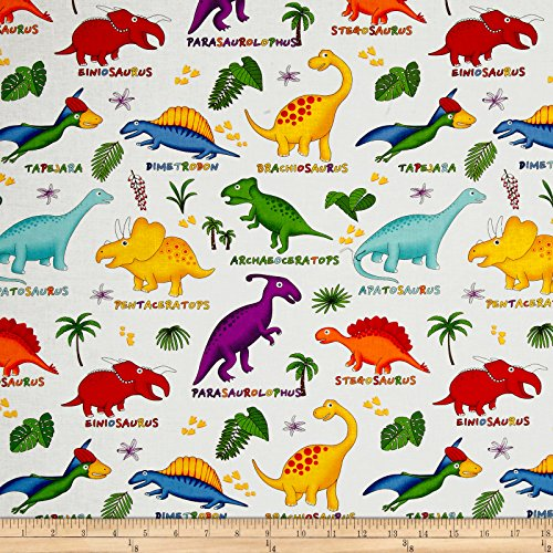 Fabri-Quilt 0516861 Lost World Dinosaurs Multi/White Fabric by The Yard, Multicolor
