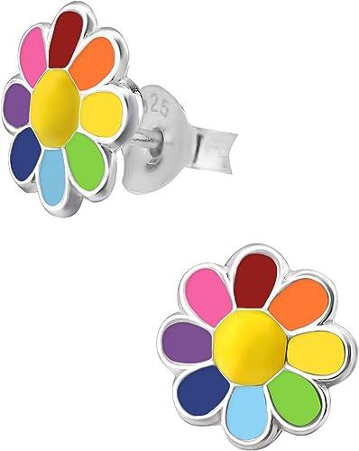 Nickel Free Hypoallergenic Sterling Silver Crystal Pink Daisy Flower Dangle Earrings for Kids