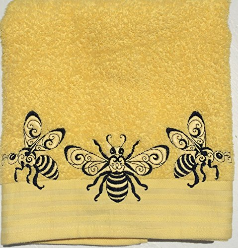 Honey Bees ~ Embroidered Bath Towel ~ 100% Cotton