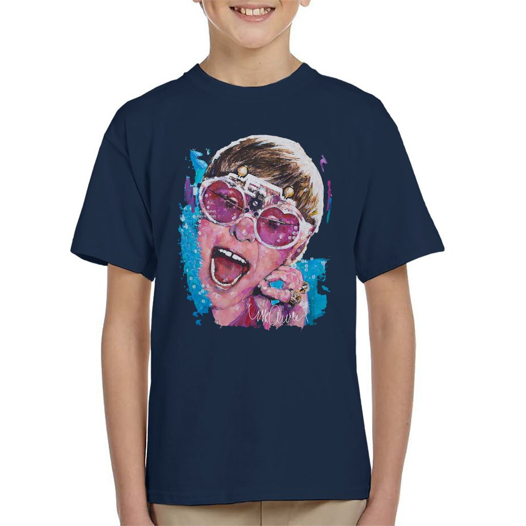 Sidney Maurer Original Portrait of Elton John Pink Glasses Kid's T-Shirt