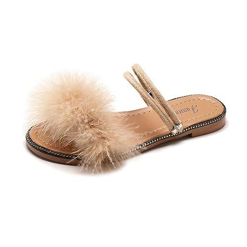 62333aa11f220 JITIAN Sandales Plates Femmes Mode Mules Fourrure Plage Casual Confort  Chaussures Bout Ouvert Tongs  Amazon.fr  Chaussures et Sacs
